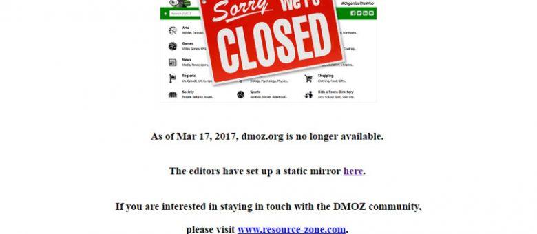 Hecha el Telón DMOZ, uno de los directorios más importantes para Google