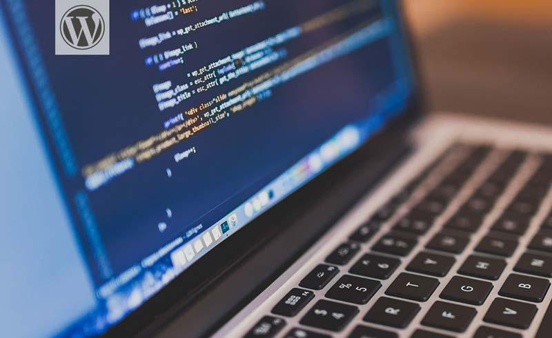 Ordenador que muestra código de un ejemplo de Plugin creado para WordPress