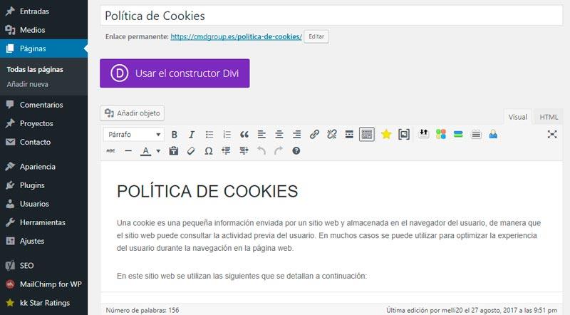 No tenemos la necesidad de configurar la Política de Cookies con el uso de plugins algunos, si utilizamos los pasos que os detallamos a continuación