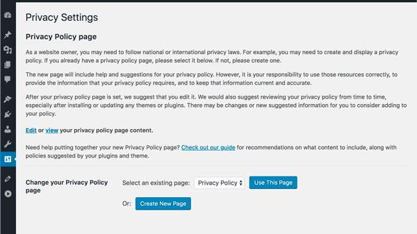 Esta pagina se mostrará en tus páginas de acceso y registro. Deberías añadir manualmente un enlace a tus políticas en todas las páginas de tu web. Si tienes un menú en el pie de página ese es un fantástico lugar para incluir tus políticas de privacidad.