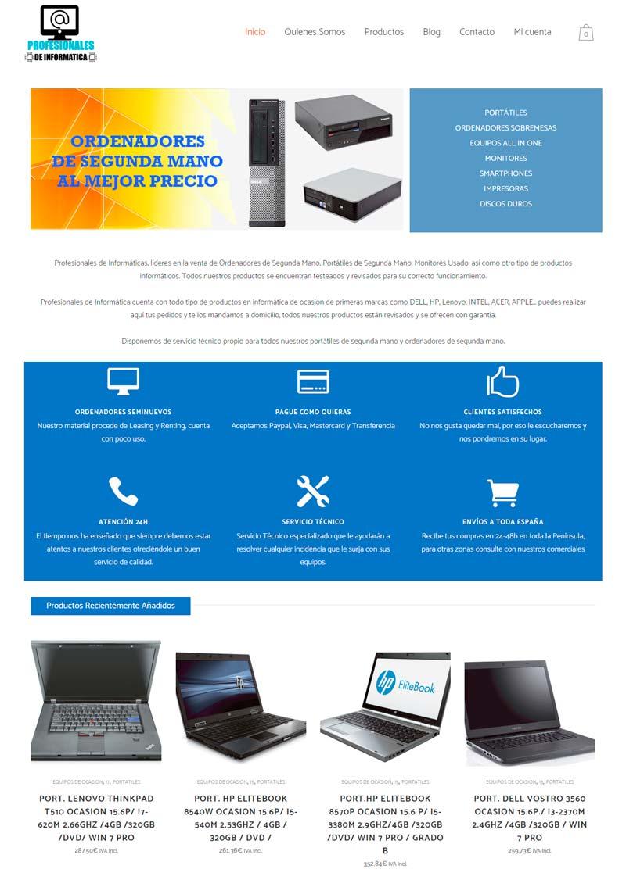 Profesionales de Informática - Tienda Online realizada bajo el CMS WordPress y Woocommerce, usando el Tema Bridge de una forma sencilla, con pocos elementos